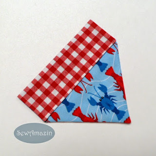 Lobster Picnic Summer Dog Bandana, over the collar