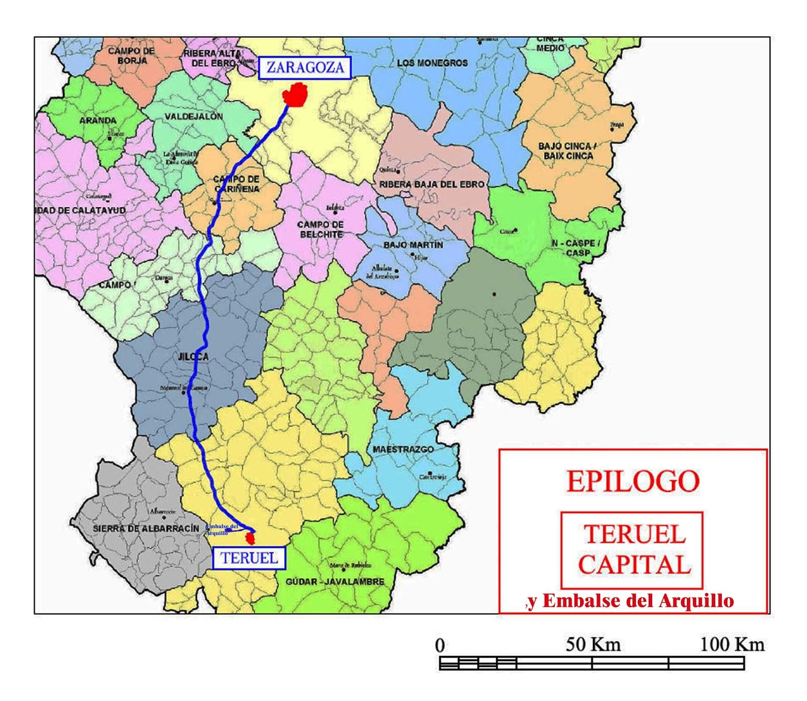 Horizon Mapa De La Provincia De Teruel Con Sus Pueblos