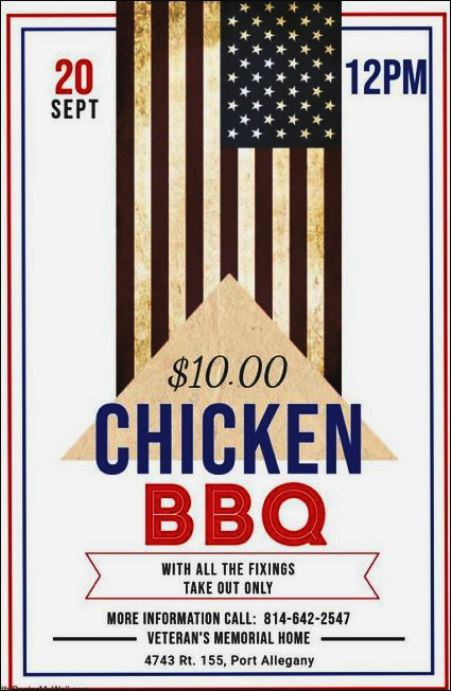 9-20 Chicken BBQ, Port Allegany VFW