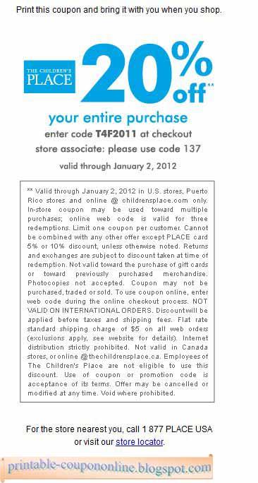 printable coupons childrens place usa