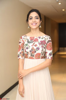 Ritu Varma smiling face Cream Anarkali dress at launch of OPPO New Selfie Camera F3 ~  Exclusive 060.JPG