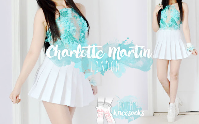 I'm beyond excited for today's fashion review, which features a gorgeous embroidered lace crop top from Charlotte Martin LDN, a London-based brand with a unique range of luxurious, handmade lace halters. I recently received their exquisite embellished Mia 3D lace halter top in a bright teal hue, a style that blends delicacy and luxury, style and sophistication. - Eat My Knee Socks / Mimchikimchi