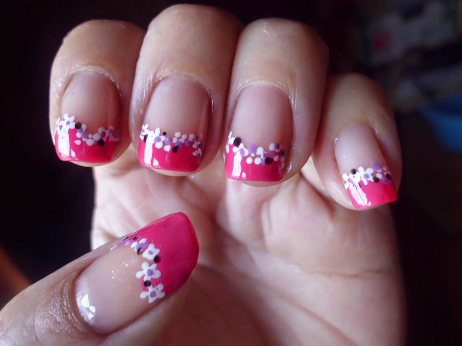 manicura francesa rosa