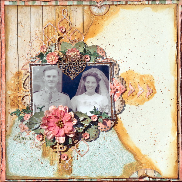 Mixed Media Layout by Denise van Deventer using BoBunny Felicity Collection and Pentart Countour Liners