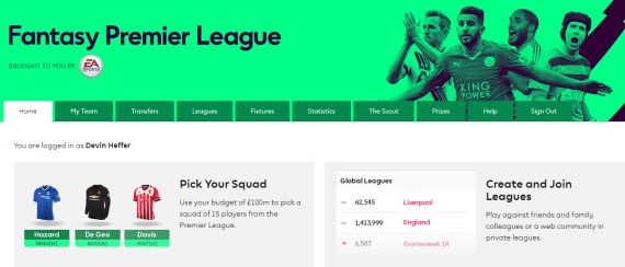 Fantasy Premier League HOME page