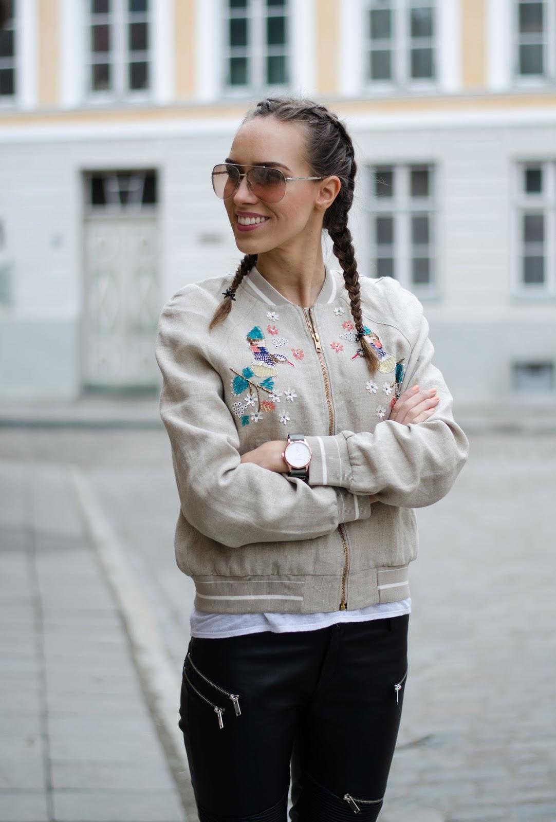 kristjaana mere hm embellished linen bomber jacket minimalist spring outfit