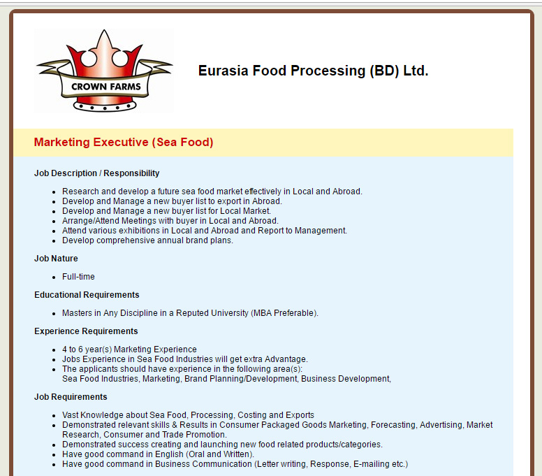 Eurasia Food Processing Bd Ltd  Position Marketing Executive