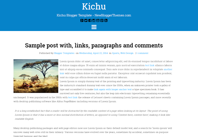 Kichu Responsive Blogger Template Free Download