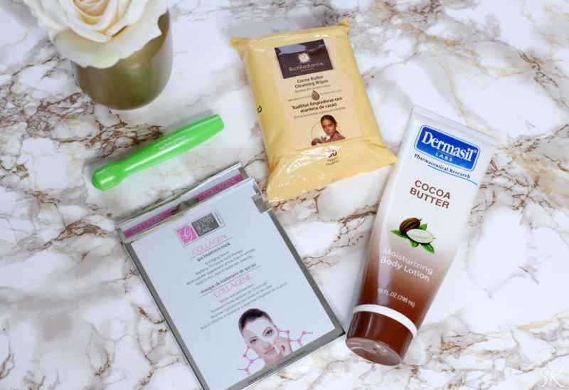 Dollar Tree Beauty Products on a marble table