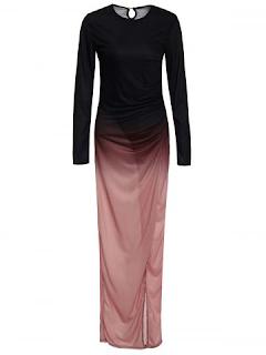 Floor Length Ombre Slit Draped Prom Dress - Black