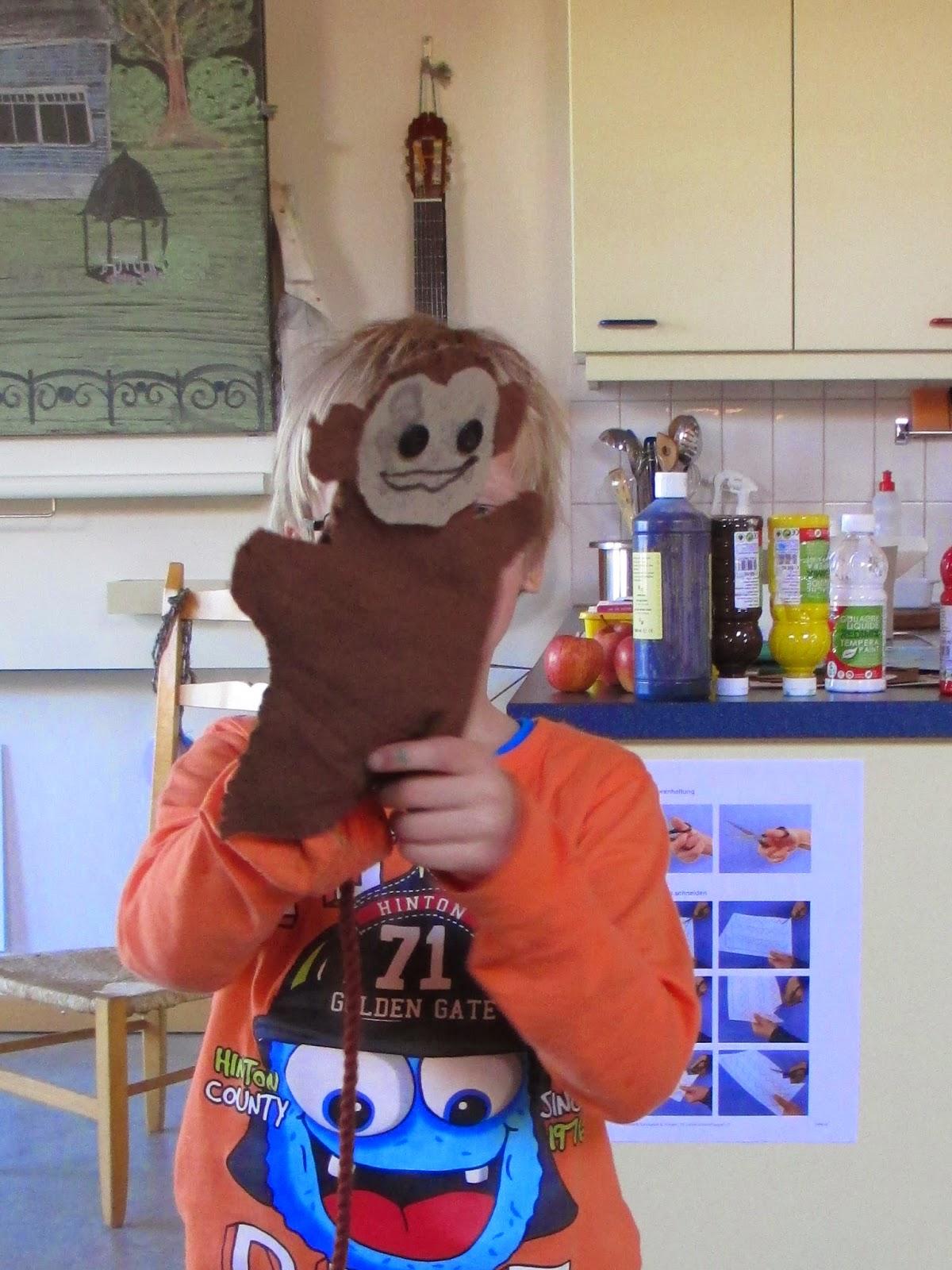 Märlimuus: Handpuppe Affe mit Kindern nähen - Schnittmuster als Download