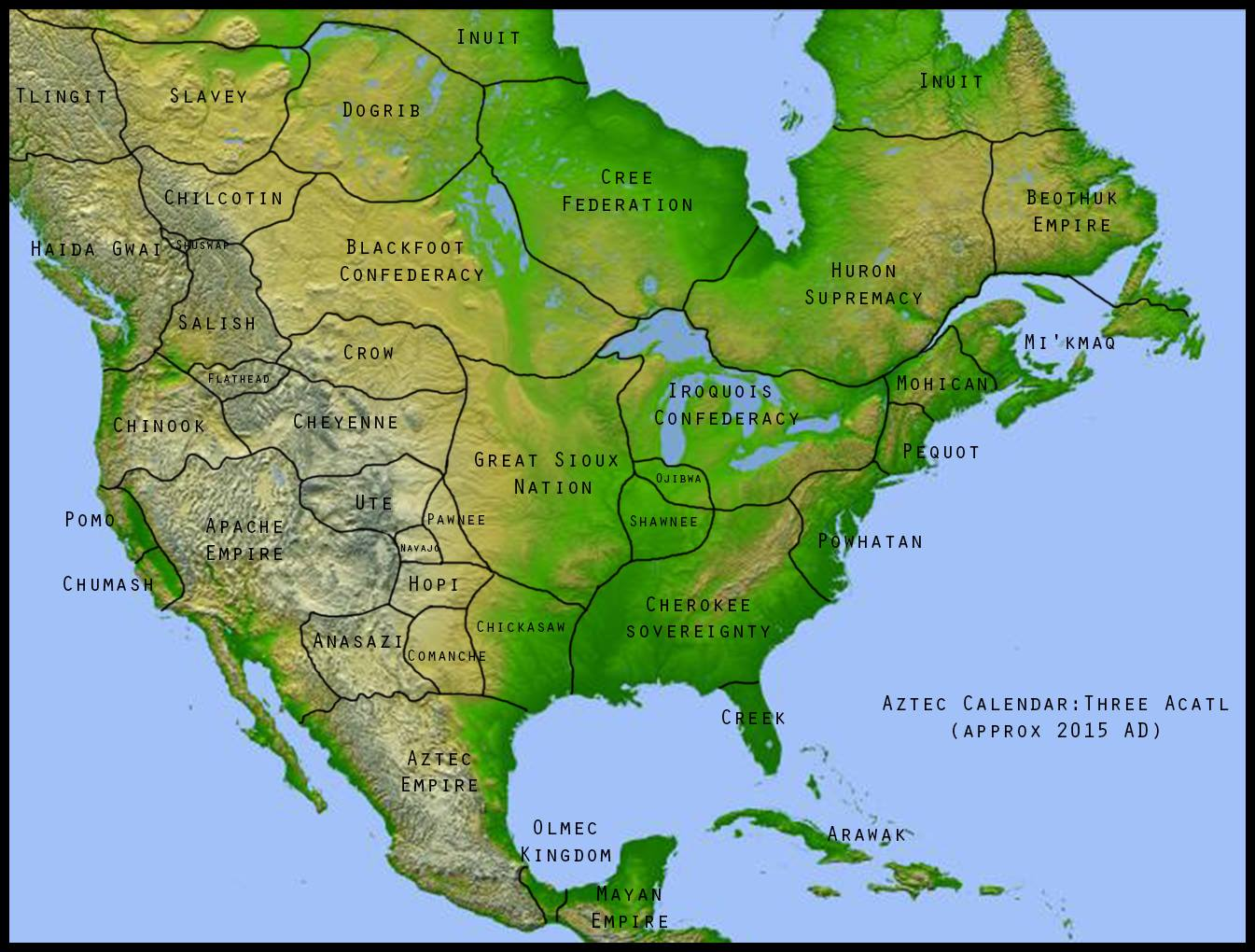 Map of North America before colonisation