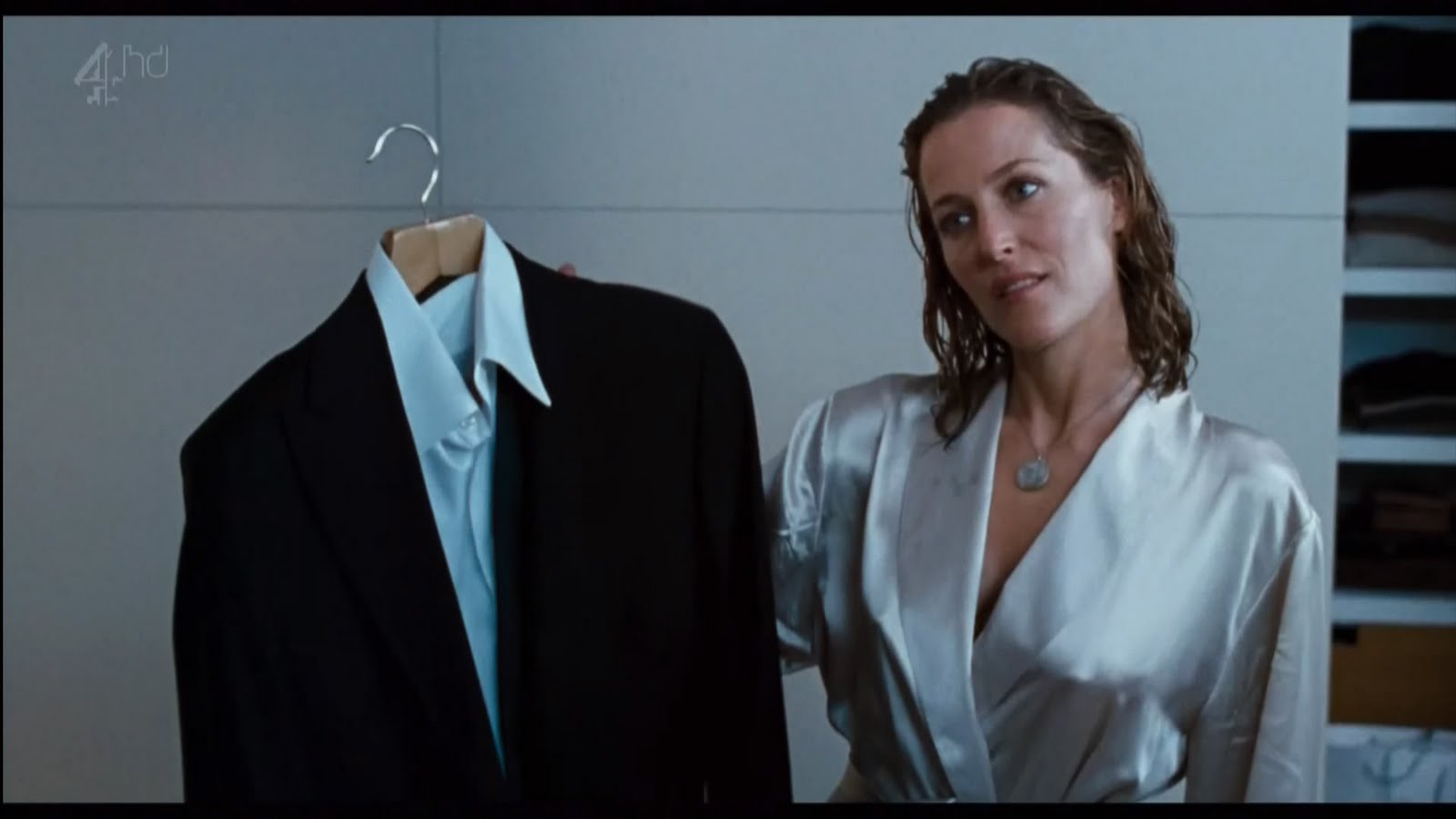 2c862ad5bf9 Ladies in Satin Blouses: gillian anderson - silver satin robe