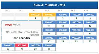 Bảng giá vé máy bay đi Thanh Hóa tháng 6