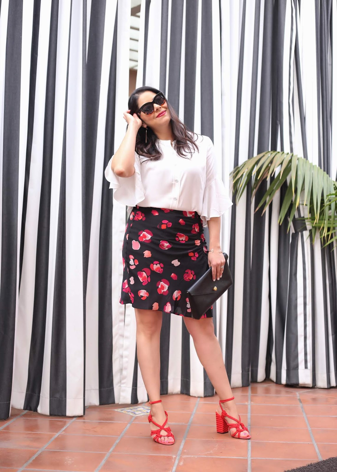 how to wear a floral skirt, cabi petal skirt, cabi float blouse