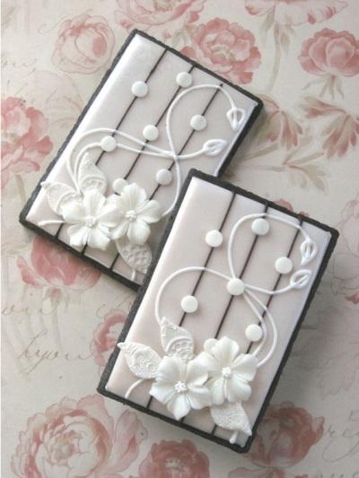 Art Nouveau Floral Lace Wedding Cookies