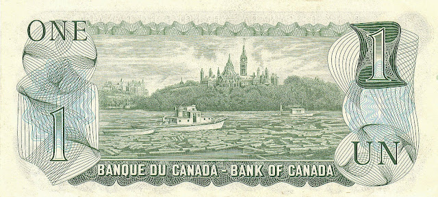 Canada money currency One Dollar banknote 1973 Ottawa River with Parliament Hill