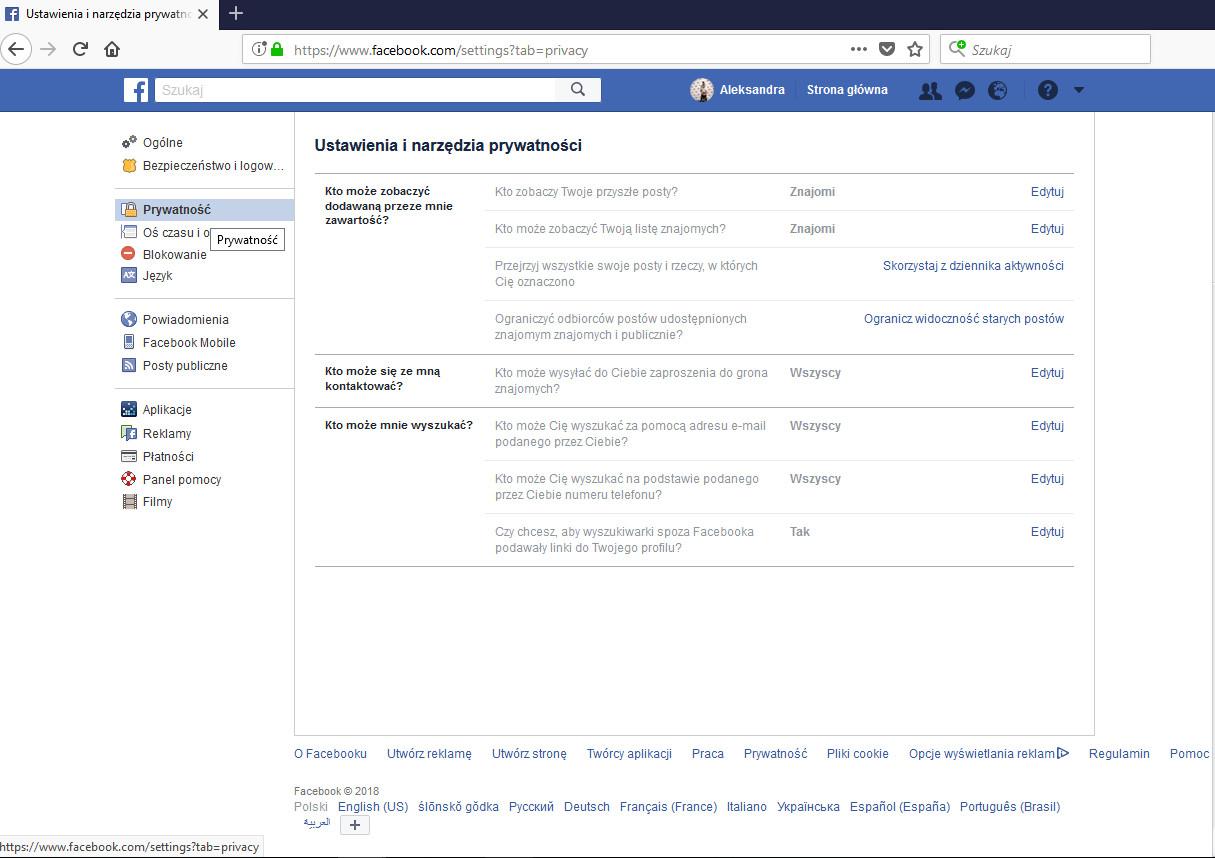 Ustawienie prywatności na facebooku