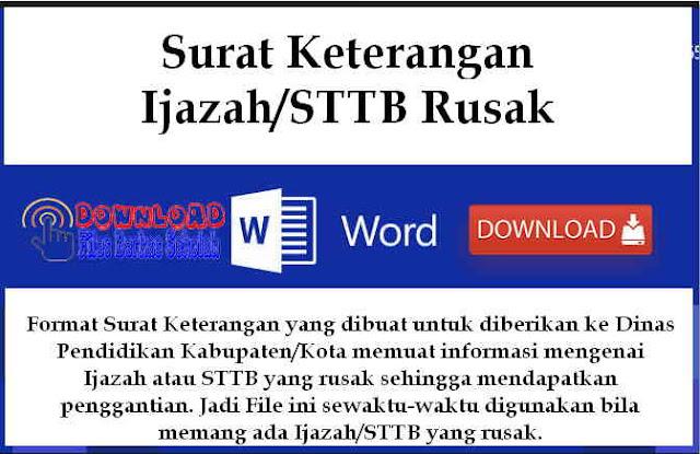 Download Surat Keterangan Ijazah/STTB Rusak Format Word