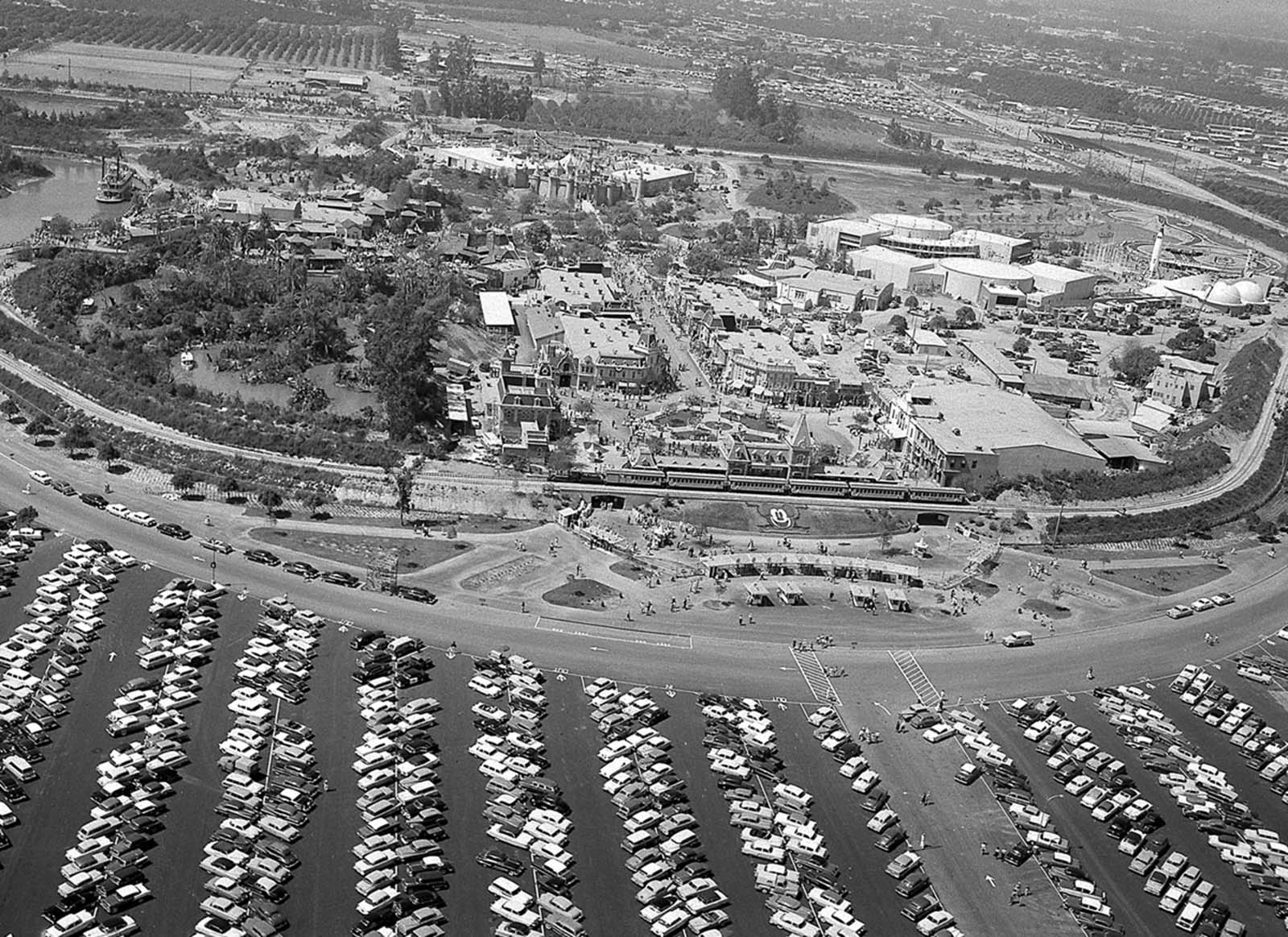 An aerial view shows Disneyland as guests attend opening-day festivities in Anaheim, California, on July 17, 1955.