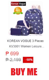 KOREAN VOGUE 3 Pieces KV3001 Women Leisure Backpack Ladies Bag Set