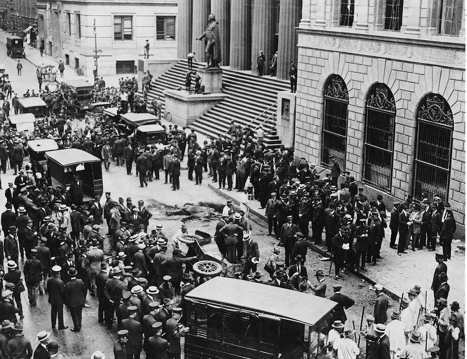 ftermath of a bombing on September 16, 1920, at Wall Street and Broad Street in New York City that killed 38 people and injured hundreds.