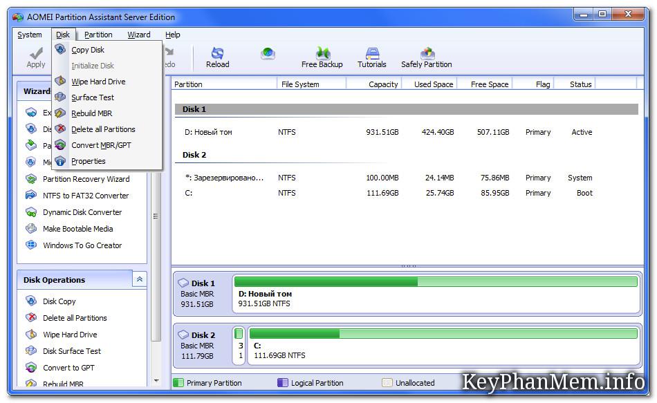 AOMEI Partition Assistant Professional - Technician - Unlimited - Server 7.5 Full Key, Quản lý phân vùng cho máy trạm và ch
