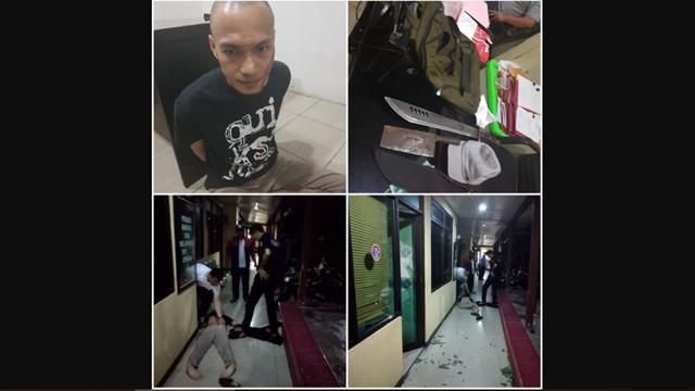 Detik-detik Pria Bergolok Serang Polsek Penjaringan dan Lukai Polisi