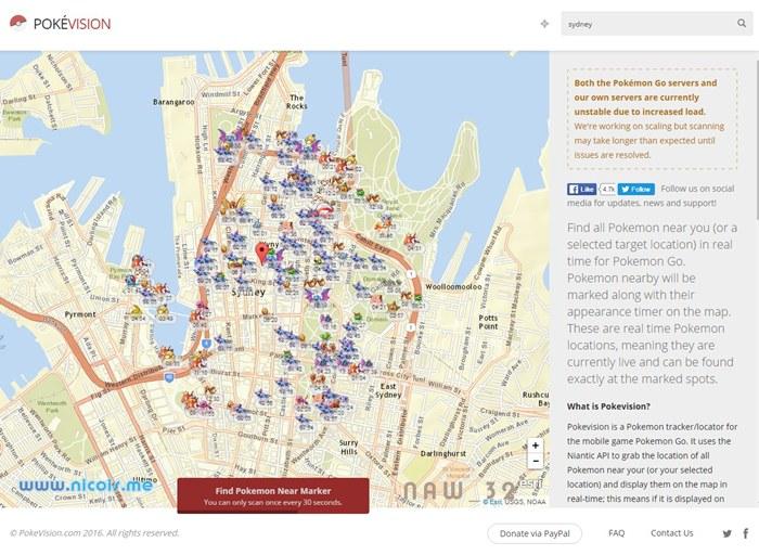 Melacak pokemon di wilayah Sydney, Australia. Peta dari ESRI bisa zoom-in sampe ke jalan-jalan tikus sekalipun.