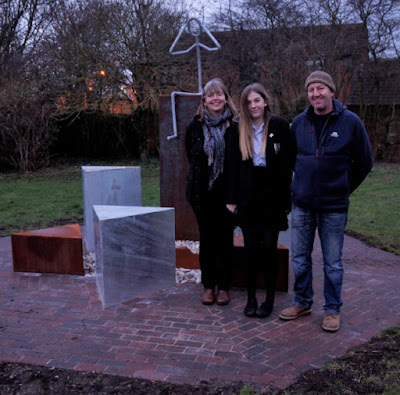 Izzy Roberts, who designed the Brigg Holocaust Memorial, with her Mum and Dad - January 2019
