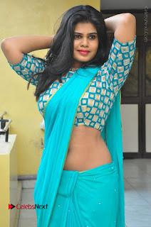 Telugu Actress Alekhya Stills in Green Saree at Swachh Hyderabad Cricket Press Meet  0035.JPG
