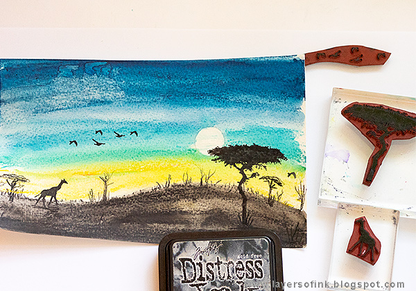 Layers of ink - African Night Watercolor Tutorial by Anna-Karin Evaldsson with Darkroom Door African Trees stamps