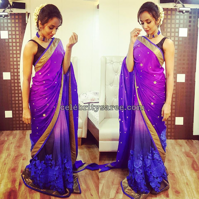 Tejaswi Madivada in Purple Saree