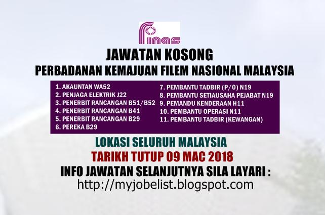Jawatan Kosong Perbadanan Kemajuan Filem Nasional Malaysia (FINAS) Mac 2018