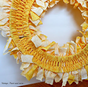Vintage, Paint and more... back side view of a finished fabric rag wreath