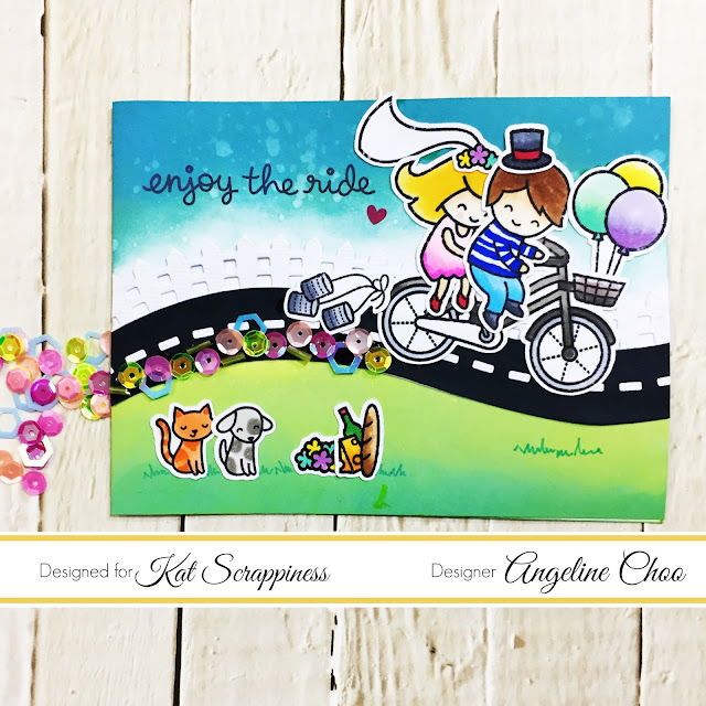ScrappyScrappy: Bicycle Built for You with Kat Scrappiness #scrappyscrappy #katscrappiness #lawnfawn #timholtz #lawnfanatics #distressoxide #lawncut #stamp #stamping #scanncut #card #cardmaking #craft #crafting #papercraft #diecut #katscrappinesssequin #sequins #rockcandy #weddingcard #copicmarkers