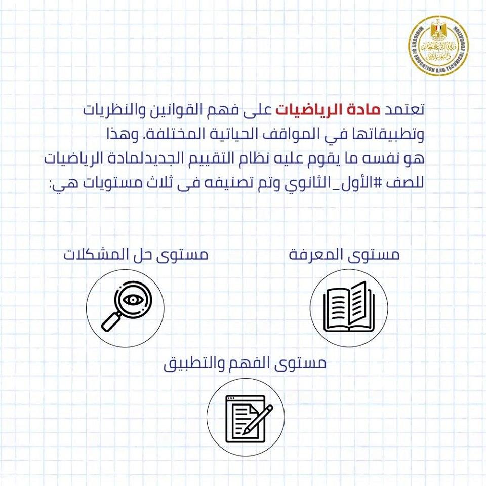 نماذج أسئلة امتحان الرياضيات لطلاب الصف الأول الثانوى مايو 2019 من الوزارة 2
