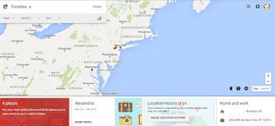 Google maps (web) timeline