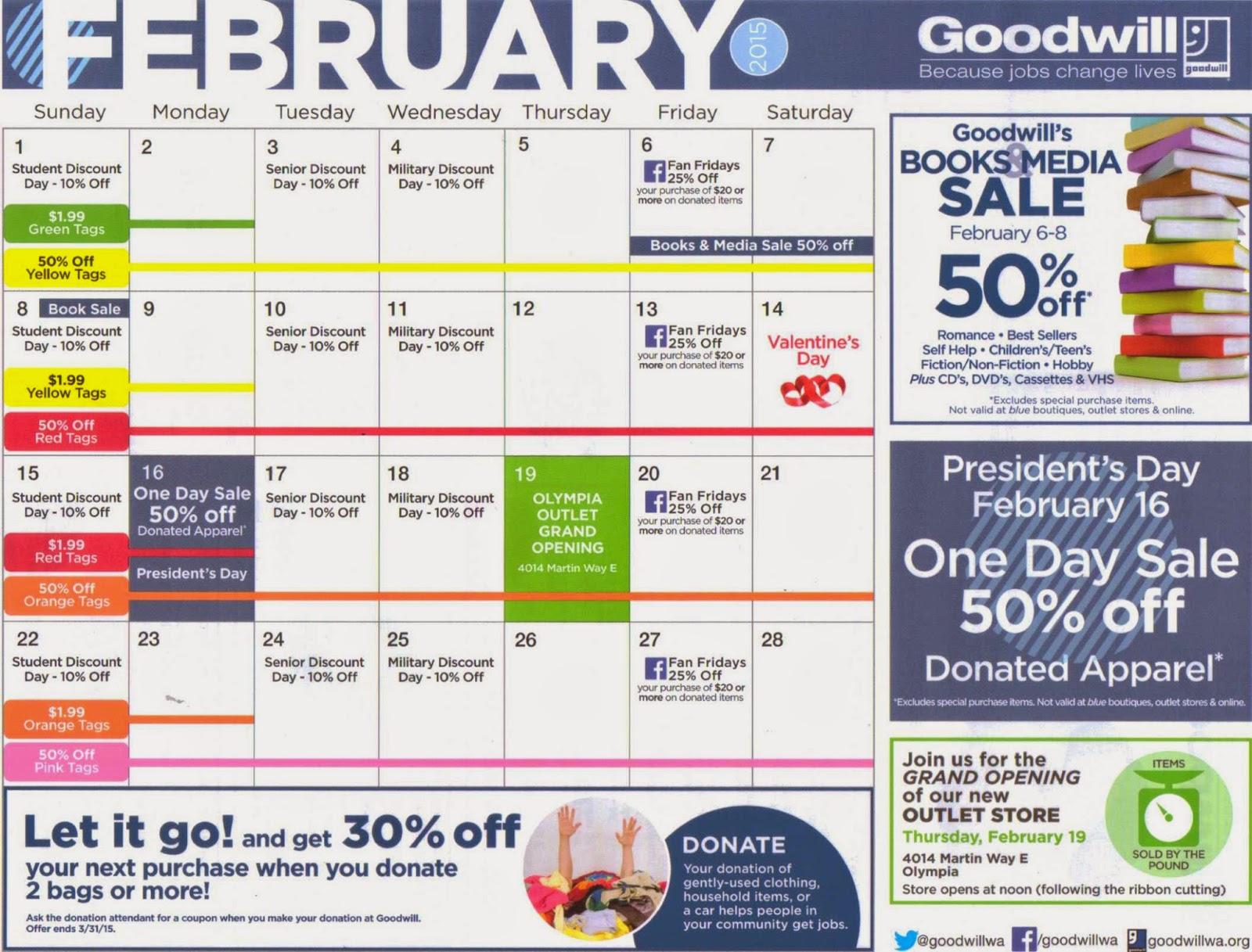 Rainier Lions Club Yelm Goodwill February Calendar Special News