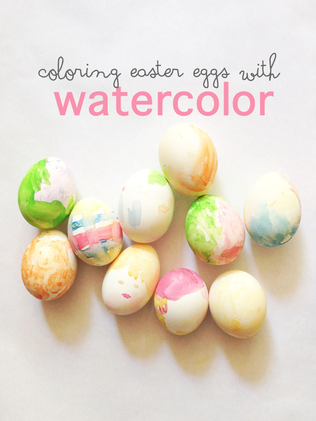 coloring Easter eggs with watercolor paints