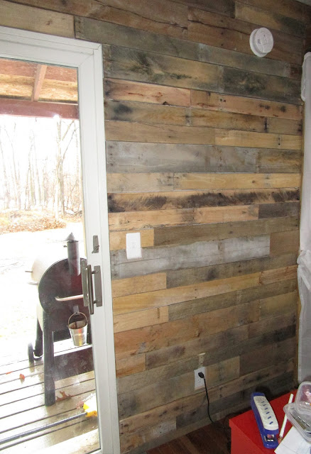 It's been a while since I have posted an update on our barn home.  Today I am sharing the pallet wall that my son built for me.  It makes our rustic barn look even more rustic.  A pallet wall is a quick, DIY project that almost anyone can do. A Glimpse of Normal