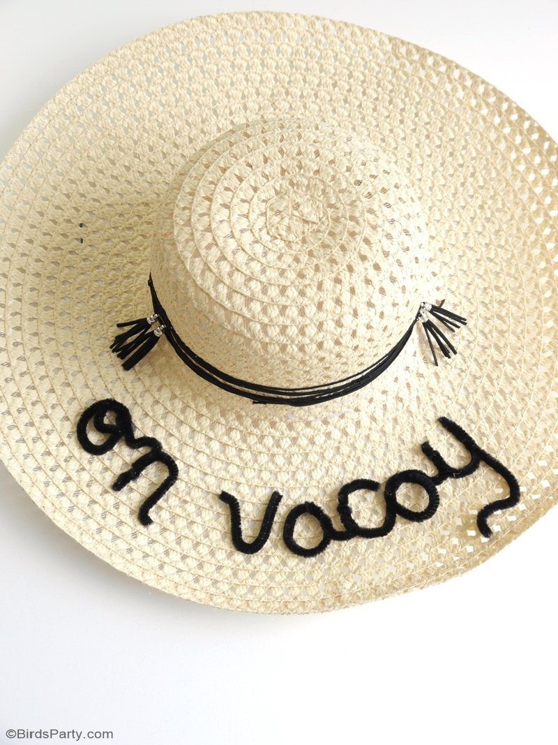 DIY Custom Summer Sun Hats - a quick, easy and fun craft project with two styling ideas to get you poolside ready this summer! by BIrdsParty.com @birdsparty #poolsideready #poolsidefashion #diyfashion #diysummerhats #summerhats #poolparty #beachparty #summercrafts
