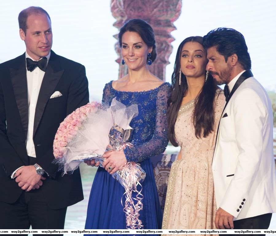 The Duke and Duchess of Cambridge on stage with Aishwarya Rai Bachchan and Shah Rukh Khan at a Bollywood Charity Gala hosted by the British High Commission and the British Asian Trust at the Taj Mahal Palace hotel in Mumbai