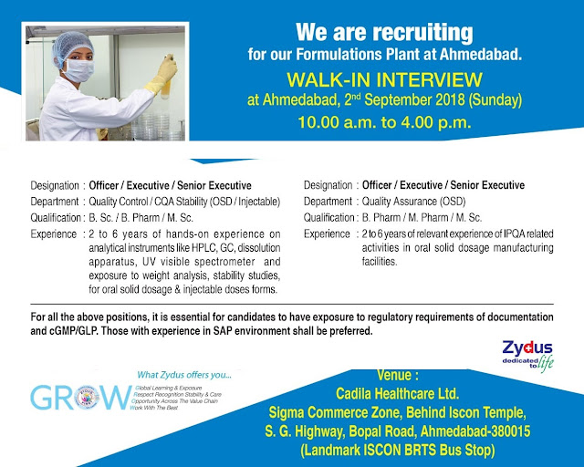 Cadila Healthcare Ltd Walk-in Interviews For B.Sc, B.Pharm, M.Sc,  M.Pharm at 2 September