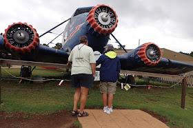 Tourists viewing replicate of crashed plane at Lamington National Park Australia