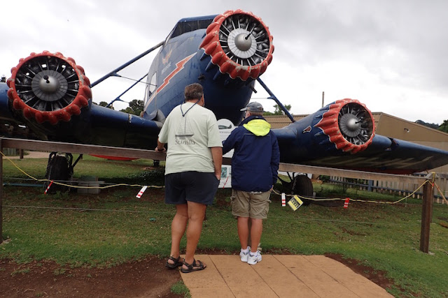 Tourists viewing replicate of crashed plane at Lamington National Park Australia