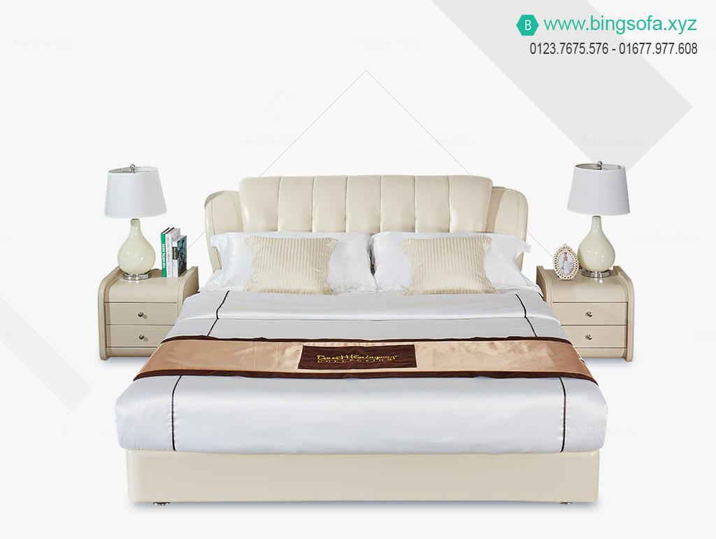 Giường ngủ bọc da tân cổ điển cao cấp
