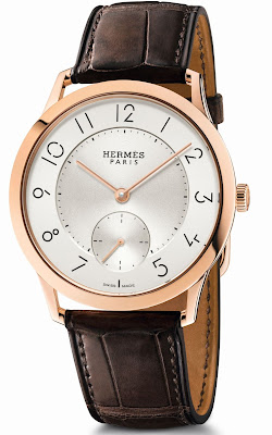 Hermès Slim d'Hermès 39.5mm watch with rose gold case and Opaline Dial