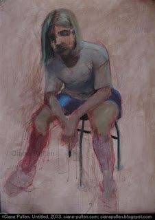 Painting of a white woman sitting on a chair, loose realistic style.