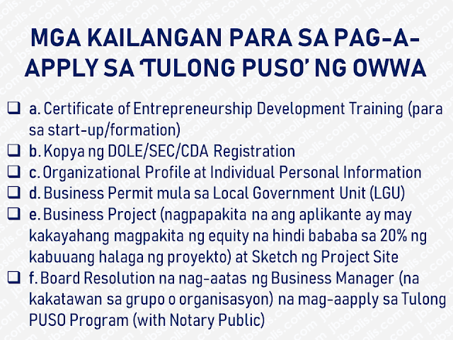 "As a Philippine government agency, Overseas Workers Welfare Administration (OWWA) an attached agency of the Department of Labor and Employment (DOLE), is the lead government agency which protects and promote the welfare and well-being of Overseas Filipino Workers (OFWs) and their dependents. Over the years, it has formulated programs and projects that benefit  OFWs.  This time, a new program was launched which aims to provide assistance for OFW groups who want to put up a business.  Advertisement        Sponsored Links     Through the project dubbed as ""Tulong Pangkabuhayan para sa samahang OFWs"" or 'Tulong PUSO"", DOLE under the leadership of Secretary Silvestre H. Bello III together with OWWA has allocated Php300 million to help OFW organizations with their livelihood programs. The program is designed to assist the OFW organizations to start, develop or even to revive livelihood programs or businesses. Through the program, raw materials, equipment, and other support services which amount starting from Php250,000.00 up to Php1 Million depending on the requirements of their chosen business or livelihood will be provided by OWWA to the members of the OFW organizations.        According to OWWA Administrator Hans Leo J. Cacdac, the program is developed to urge OFW organizations to venture into business and livelihood.  OFW organizations with accreditation from DOLE, Cooperative Development Authority (CDA) or Securities and Exchange Commission (SEC) may submit their project proposal together with the requirements to any nearby OWWA Regional Welfare Offices for evaluation and additional details about the program.  DOLE-OWWA is hoping that through this program, OFW organizations can have their chances to expand their livelihood programs in accordance with the government initiative for the benefit and progress of all citizen.       READ MORE:    Find Out Which Is The Best Broadband Connection In The Philippines   Best Free Video Calling/Messaging Apps Of 2018    Modern Immigration Electronic Gates Now At NAIA    ASEAN Promotes People Mobility Across The Region    You Too Can Earn As Much As P131K From SSS Flexi Fund Investment    Survey: 8 Out of 10 OFWS Are Not Saving Their Money For Retirement    Dubai OFW Lost His Dreams To A Scammer     Support And Protection Of The OFWs, Still PRRD's Priority"